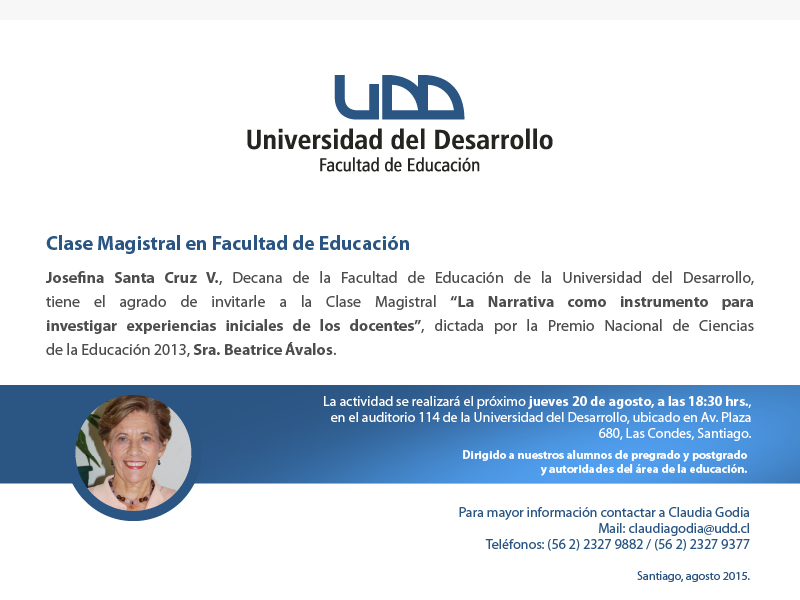 Invitación Clase Magistral Beatrice Avalos